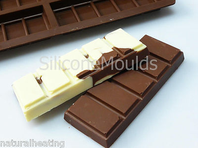 PACK OF 10 x 6 cell SMALL 5 Sectional Chocolate Snap Bar Mould Silicone Wax Melt