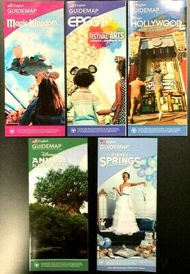 NEW 2020 Re-opening Walt Disney Guide Maps - All 5 Current Maps!! + Bonus !!!