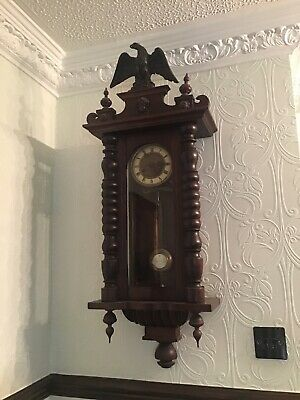 Dark Wood Antique Chiming Wall Clock With Pendulum. Beautiful Clock