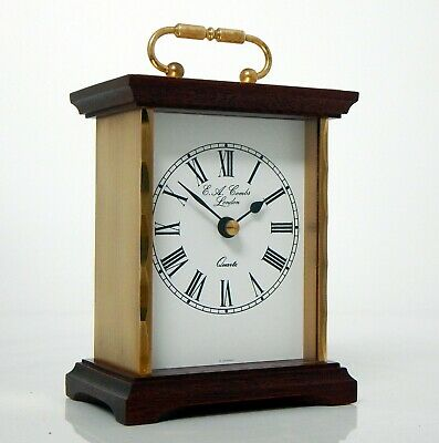 E A Combs (Junghans) Carriage Clock, Wood & Brass, Fully Working Quartz Movement