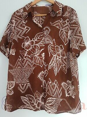 Ex Ladies Size 8-18 Abstract Print Stripe Patterned Brown Black Shirt Blouse Top
