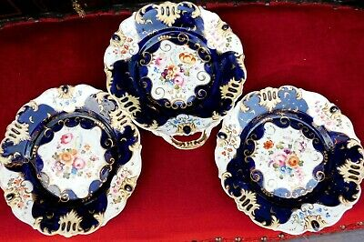 Antique English Porcelain Plates - Hand Painted Flowers - Cobalt Blue and Gilt.