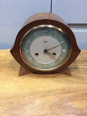 Vintage ,art Deco Mantle Clock , Smiths Enfield , Walnut Veneer , Key