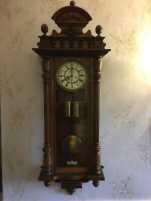 Antique Mahogany Gustav Becker Twin Weight Vienna Wall Clock
