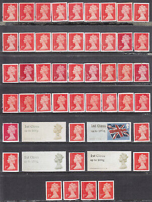 50 x 1st Class Unfranked Stamps On Paper With Faults Face Value £38.00 (LOT09f)