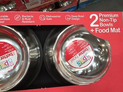 2 Premium Non Tip Stainless Steel Bowls With Food Mat Bacteria & Rust Resistant