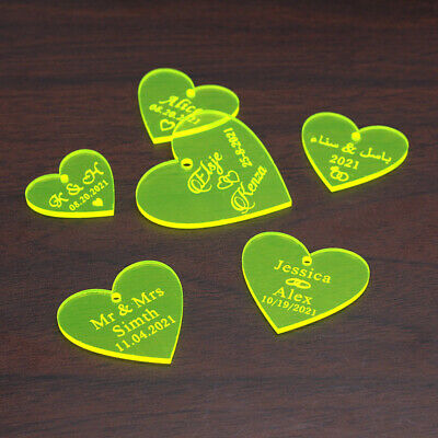 Personalised Clear Love Hearts Wedding Party Table Decor Confetti Gift Favors