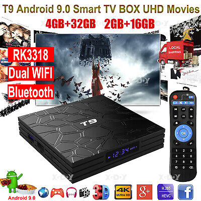 T9 4+32G Android 9.0 Pie Smart TV BOX Dual WLAN BT RK3318 4K Media Player USB3.0
