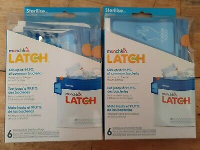 2 x Microwave Steriliser Bags Latch Cool Touch Munchkin Pack Of 6 Reusable Bags