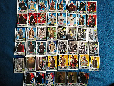 Lote de 46 cromos cartas topps Force Attax Star Wars Carrefour 2016 consultar nº