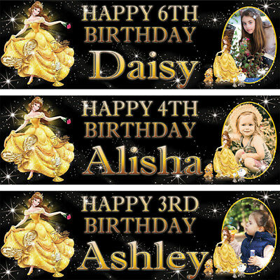 x2 Personalised Birthday Banner Belle Children Kids Party Decoration Poster Gift