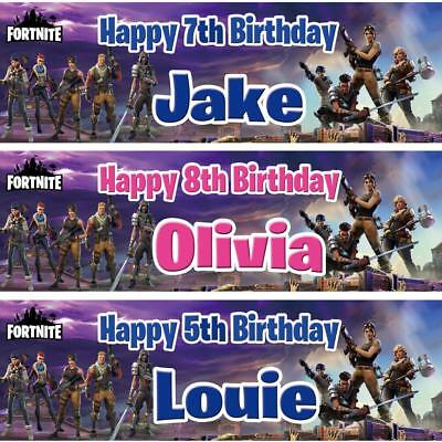 2 Personalised Birthday Banner Fortnite Children Kids Party Decoration poster