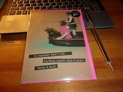 Small card Fishing, Humour, blank,for own use, see photo