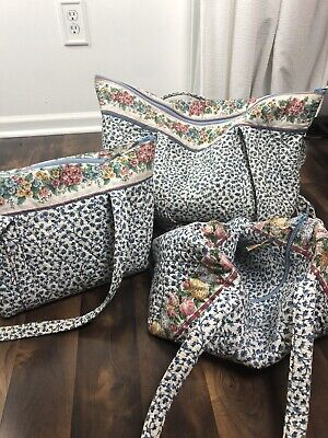 Vera Bradley set of 3 luggage bags-white and blue flowers -used! see measurement