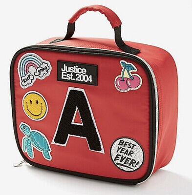 NEW Justice Red Patch Backpack /& Lunchbox with DIY Personalize Stickers