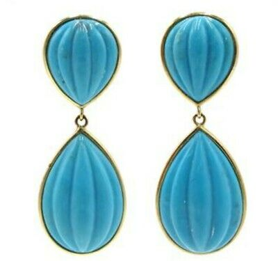 Pair of 9ct Gold Sleeping Beauty Turquoise Earrings