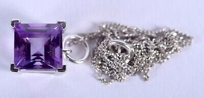 Lovely 18ct White Gold Amethyst Pendant and Chain