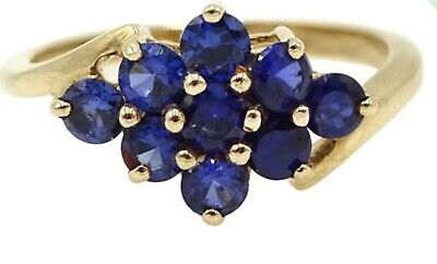 9ct Gold 9 Stone Sapphire Ring