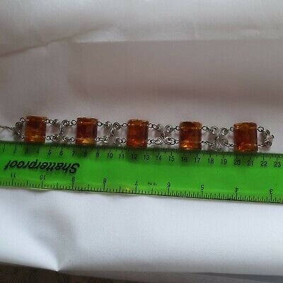 Silver and Amber Panel bracelet
