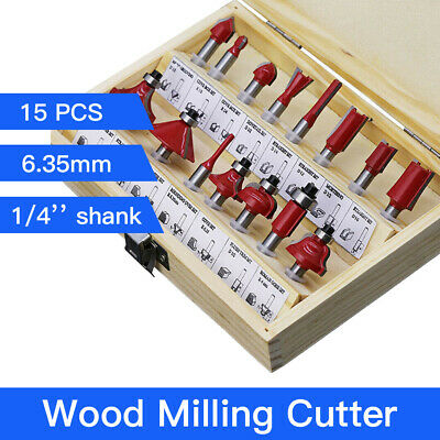 """15pcs Wood Milling Cutter 1/4"""" Shank Router Bit Set Cutting Tool for MDF Board"""