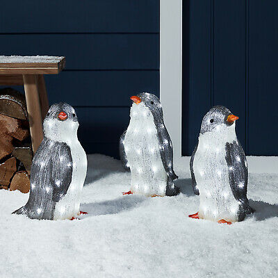 Acrylic LED Penguins Outdoor Christmas Decoration Garden Plug In IP44 Lights4fun