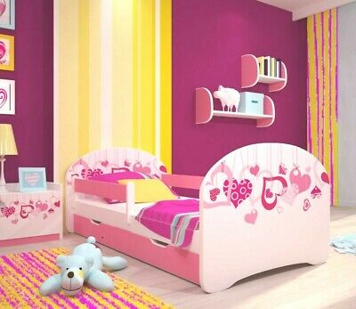 + Sale The Best Quality Baby Kids Bed Toddler Car Junior Bed with Mattress 140 x 70 cm 160 x 80 cm 180 x 80 cm 140x70cm Untill 5 Jears, Pink Girl Things
