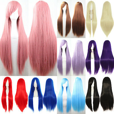 Women Girls Long Straight Hair Wig Anime Cosplay Party Wigs Costume Fancy Dress