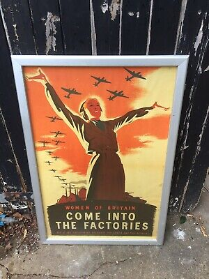 2W27 Vintage Women of Britain Come InTo The Factories War Poster WW2 A1 A2 A3 A4