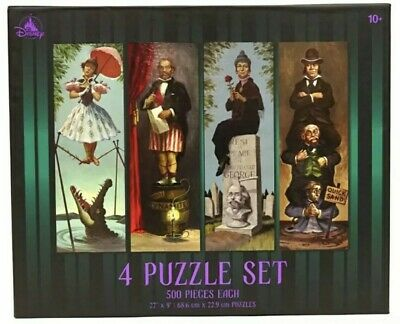 Disney Parks The Haunted Mansion Elevator Room Stretching Portraits 4 Puzzle Set