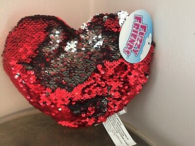 Flip Sequin Mini Mermaid Heart Pillows Valentines Day 9 X 9 RED /& SILVER Set//2