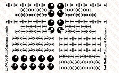 1//18 Scale Tattoos Waterslide Decals Star Wars Kill Markings for Vehicles