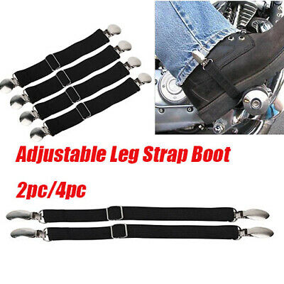 2PC BIKER MOTORCYCLE PANT SINGLE CLIP BOOT STRAPS TO HOLD PANTS DOWN DA30
