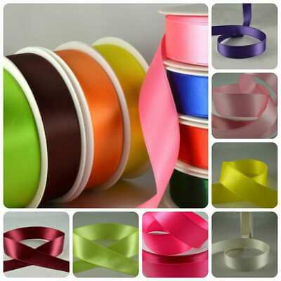 Double Satin Ribbon x 5 metre rolls 7mm,10mm,15mm,25mm All Colours