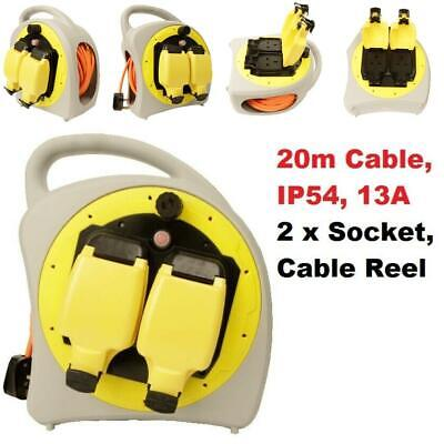 Waterproof Extension Lead 20m Cable Reel Outdoor Garden 2 Socket Gang 240V 13A