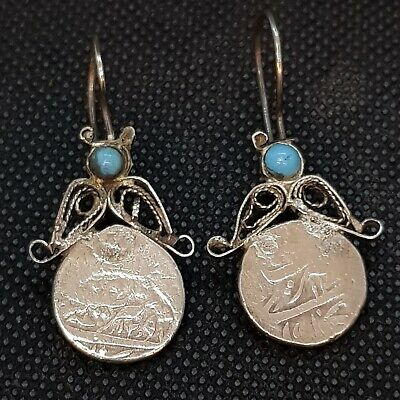 Ancient Roman Empire Soild Silver Unique Earings With Turquoise Stone