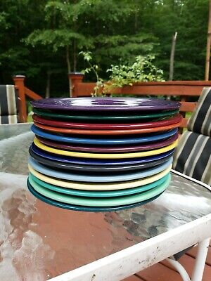 "Set Of 14 Fiestaware Mixed Color 10.5"" Dinner Plates Fiesta Lot"