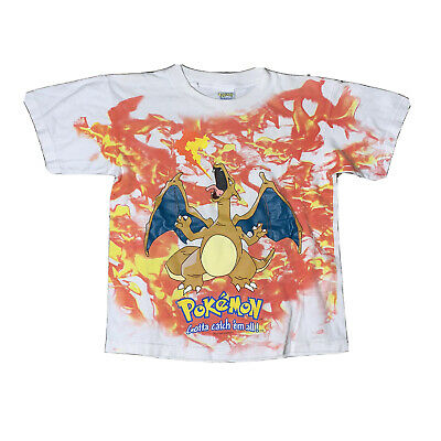Vintage 90s Youth Medium All Over Print Charizard Pokemon Shirt Vtg Anime