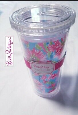 NEW Lilly Pulitzer Tumbler Cup Lid Reusable cold Drink Purple Anchors 20 oz