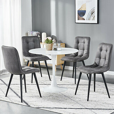 Small Round Dining Table And 4 Chairs Set Faux Suede Fabric Kitchen Living Room 59 99 Picclick Uk