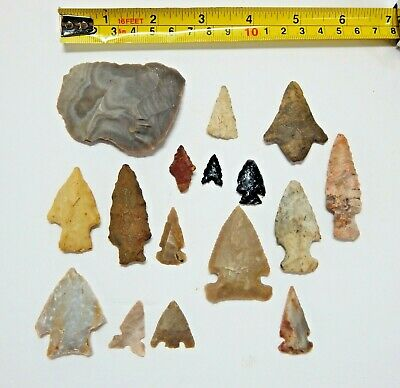 15 Authentic Ancient Indian Arrowheads and 1 Scraper Knife Stone Flint Obsidian