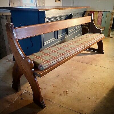 Antique Pitched Pine Church Pew With Upholstered Tweed Seat
