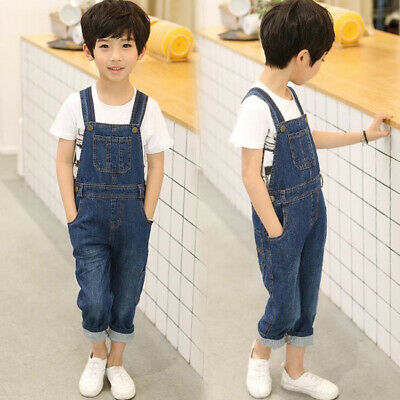 New Boys Strap Jeans overalls suspender Trousers Kids Child Casual  Demin Pants