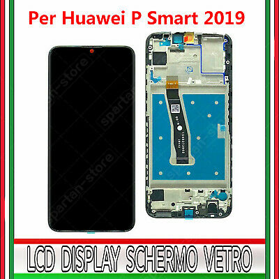 Display Per Huawei P Smart 2019 Pot-Lx1 Lx2 Lcd Vetro Touch Schermo + Frame Nero