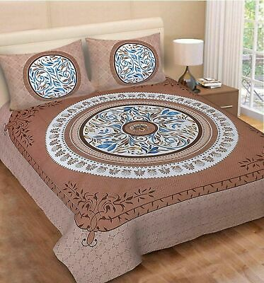 Indian Mandala Cotton King Size Jaipuri Double Bed Sheet With 2 Pillow Covers sk