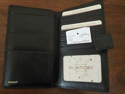 NWT Buxton Black Leather Women's Travel Passport Wallet Organizer #393W26U