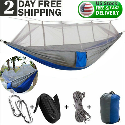 Details about  /Camping Double Hammock Nylon Outdoor Hanging Bed Garden Swing Chair /&US Stock
