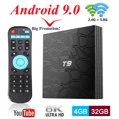 T9 TV BOX RK3318 Android 9.0 Quad Core 4GB+32GB BT 2.4G&5G WiFi Media Streamer
