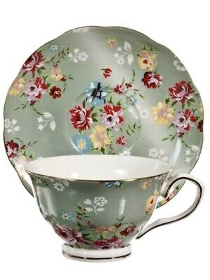 Gracie China Shabby Rose Green China Porcelain 7 oz Tea Cup and Saucer set of 4