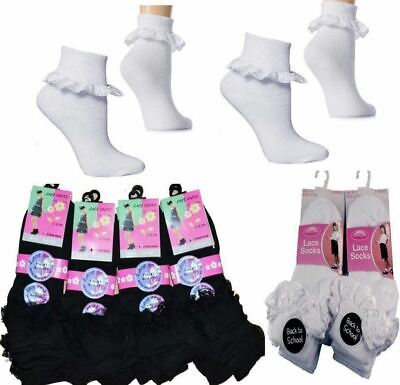 Black Navy 6 Pairs Of Girls Lace Socks Childrens Cotton Rich Frilly Ankle School Socks Grey White By Sock Stack/®
