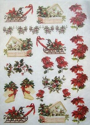 Rice Paper for Decoupage Scrapbook Craft Christmas Tree Vintage 364